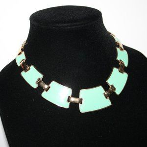 Gold and teal statement bib necklace